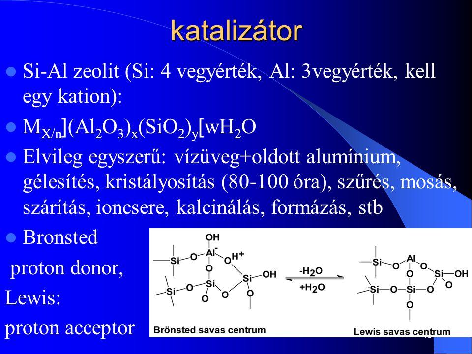 katalizátor Si-Al zeolit (Si: 4 vegyérték, Al: 3vegyérték, kell egy kation): MX/n[(Al2O3)x(SiO2)y]wH2O.